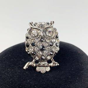Silver Tone OWL Rhinestone Cocktail Statement Ring